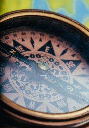 Compass, map. close up.