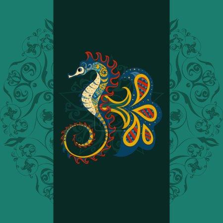 Photo pour Cheval de mer ornemental dessiné à la main. hippocampe fond sombre, hippocampe en tribu. Doodle Hippocampe. Cheval de mer coloré sur fond de mandala sombre ornemental - image libre de droit