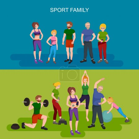 Sports and Fitness People, Healthy family vector illustration.