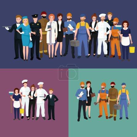 Photo pour Des gens de profession différente. Ensemble d'illustrations vectorielles homme et femme. Groupe de personnes - image libre de droit