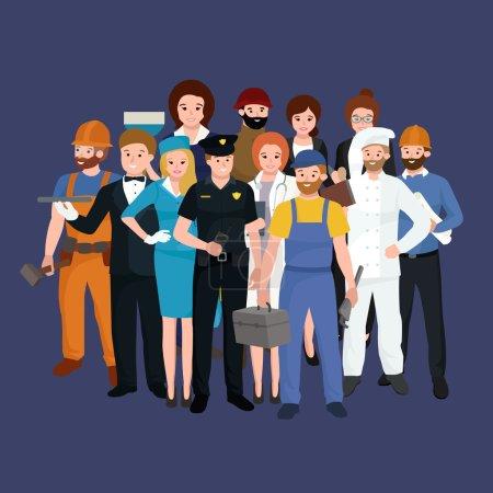 Illustration pour Équipe de travailleurs vectoriels, uniforme de gens de profession, illustration vectorielle de dessin animé, jeu de personnes - image libre de droit
