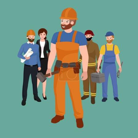 Set Arbeiterteam, Berufspersonal Uniform, Zeichentrickvektorillustration