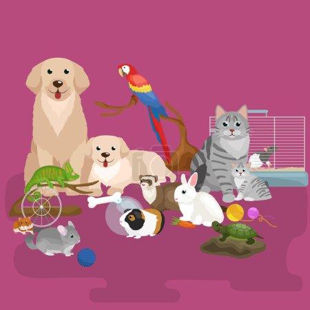 Illustration pour Accueil animaux domestiques, chien chat perroquet furet de hamster de poisson rouge, illustration vectorielle de dessin animé, animaux domestiques - image libre de droit