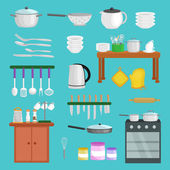 Kitchenware icons vector setCartoon kitchen utensil collection spoon pot food knife fork cup pan spatula ladle plate dish bowl colander whisk graterSteel kitchen household cutlery cooking equipment