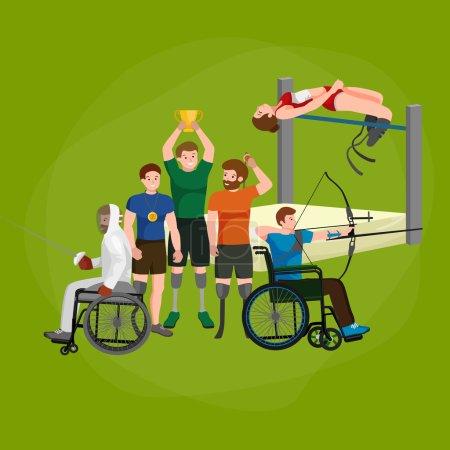 Illustration pour Désactiver Handicap Sport Jeux Stick Figure Pictogramme Icônes vecteur - image libre de droit