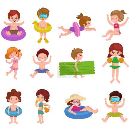 fille et garçon en maillot de bain isolé, vacances d'été enfants