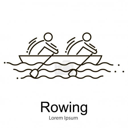 Canoe Rowing Team Icon Set. Sporting Competition Race.