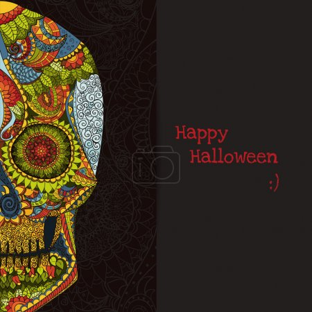 Day Of The Dead. Hand Drawn Skull ornamentrd with flowers