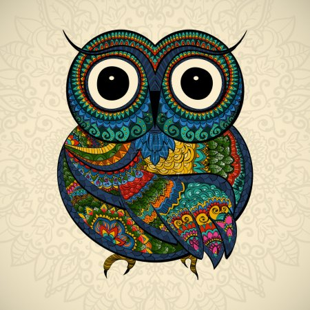 Illustration for Vector illustration of owl. Bird illustrated in tribal.Owl whith flowers on light background. Shaped and ornamental owl. - Royalty Free Image