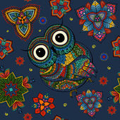 Vector illustration of owl Bird illustrated in tribalOwl whith