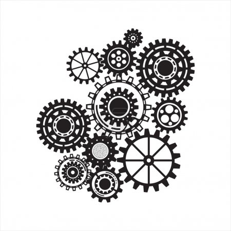 Illustration for Gear collection machine gear wheel cogwheel vector, set of gear wheels, collection of vector gear Frame from gear whith text - Royalty Free Image