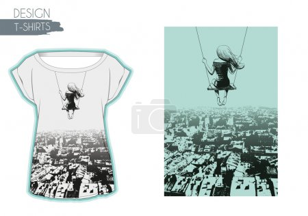 Illustration for Lonely girl on swing against backdrop of city. Sketch. T-shirts design - Royalty Free Image