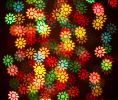 Blurring lights bokeh background of colorful flowers