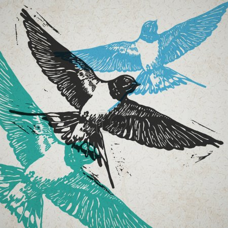 Illustration for Linocut swallows in flight in different colors on the old paper - Royalty Free Image