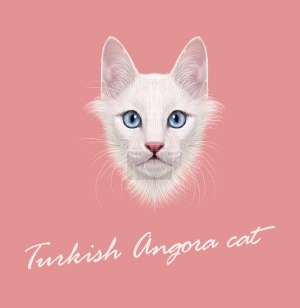 Illustration for Cute face of white domestic cat with blue eyes on pink background. - Royalty Free Image