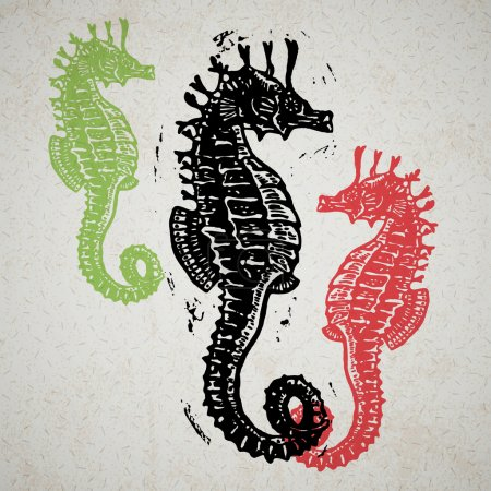 Vector Sea Horses in abstract composition.