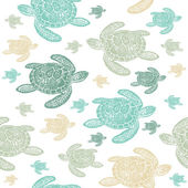 Sea Turtles colourful seamless vector pattern Realistic engraved style of Sea Turtles on white background