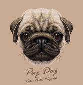 Pug dog animal cute face Vector funny happy doggy head portrait Realistic fur portrait of wrinkly pug puppy isolated on beige background