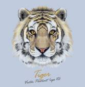 Vector Portrait of a Tiger on blue background
