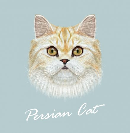 Illustration for Persian cat purebred animal cute face. Vector funny white tabby vanilla cat head portrait. Realistic fur portrait of green eyes white Persian kitten - Royalty Free Image