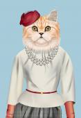 Fashion vector illustration of Persian cat dressed up in elegant outfit and red cap