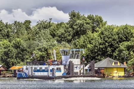 Towboat Pushing Upstream on Sava River, Belgrade, Serbia