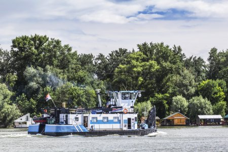 Towboat Pushing Upstream on Sava River, Belgrade, Serbia