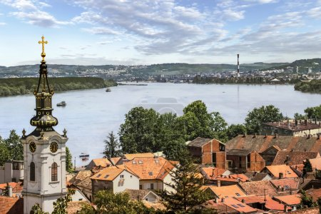 Panoramic View From Gardos Lookout in Zemun on River Danube Town of Zemun and Belgrade, Serbia