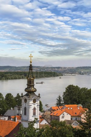 View from Gardos Lookout on River Danube and Saint Nicholas Church in Zemun, Belgrade, Serbia