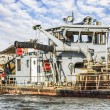 Photograph of Belgrade waterfront with old Dredger...