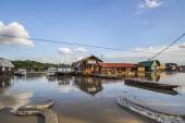 Flooded Land with Floating Raft Houses at Sava River - New Belgrade - Serbia