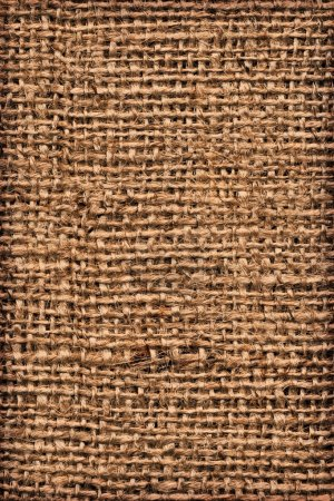 Photo for Photograph of roughly woven, extra coarse grain, burlap vignette grunge texture. - Royalty Free Image
