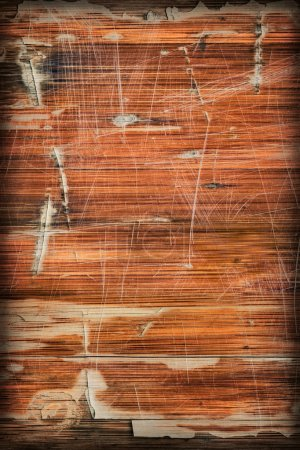 Old Varnished Wooden Panel Cracked Scratched Peeled Vignette Grunge Texture