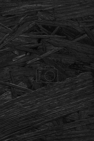 Photo pour Panneau de particules de bois blanchi et teint au charbon noir teint, rugueux, extra grossier, détail de texture grunge . - image libre de droit