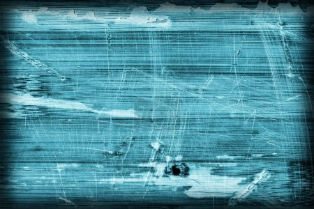 Old Wooden Laminated Panel Cyan Stained Varnished Cracked Scratched Peeled Vignette Grunge Texture