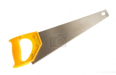 Hand saw with yellow plastic handle