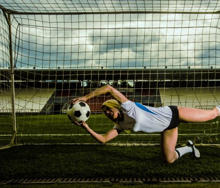 goalkeeper  woman jumping