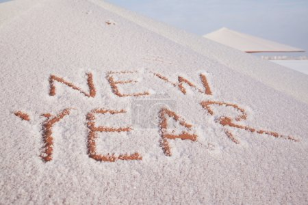 words new year  on snow