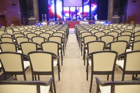 Rows of beige seats