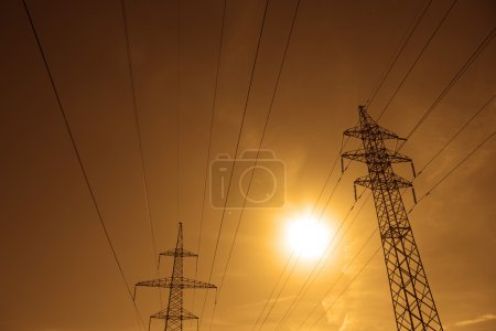 Power lines poles