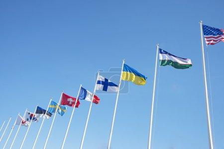 Row of european flags