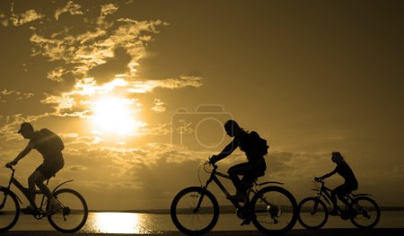 friends on bicycles at sunset.