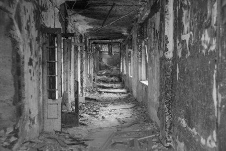 old ruinous burnt corridor