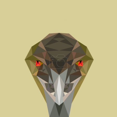 Low poly vector illustration of Emu