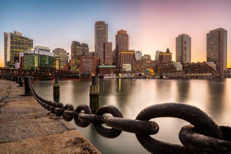 Boston skyline at sunset