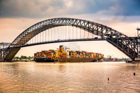 Cargo ship passes