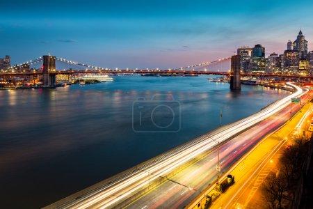 Brooklyn Bridge and FDR drive at dusk