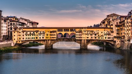 Ponte Vecchio at sunset in Florence,