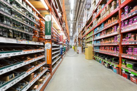 Aisle in a Home Depot hardware store