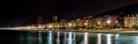 Copacabana Beach panorama by night